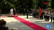 Franciszek w Macedonii Północnej: Ceremonia powitania